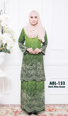 BAJU KURUNG PAHANG ADORIA BERIL LACE COLLECTION (ABL) – DARK OLIVE GREEN