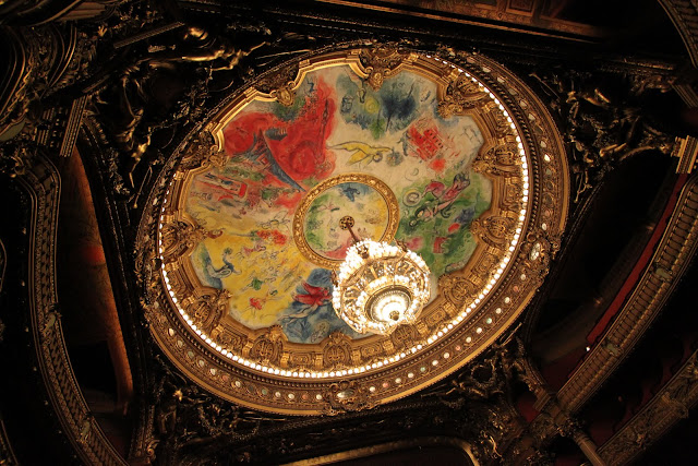 Marc Chagall's ceiling design with the grand chandelier in the middle of the auditorium in Le Palais Garnier Opera House in Paris, France