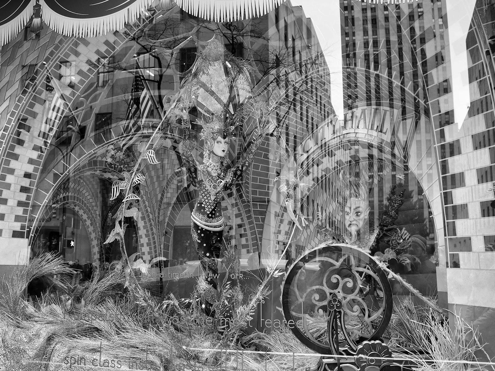 Spinning Gold (BW)  #spinninggoldbw #anenchantedexperience #saksholiday #saks #nyc ©2014 Nancy Lundebjerg