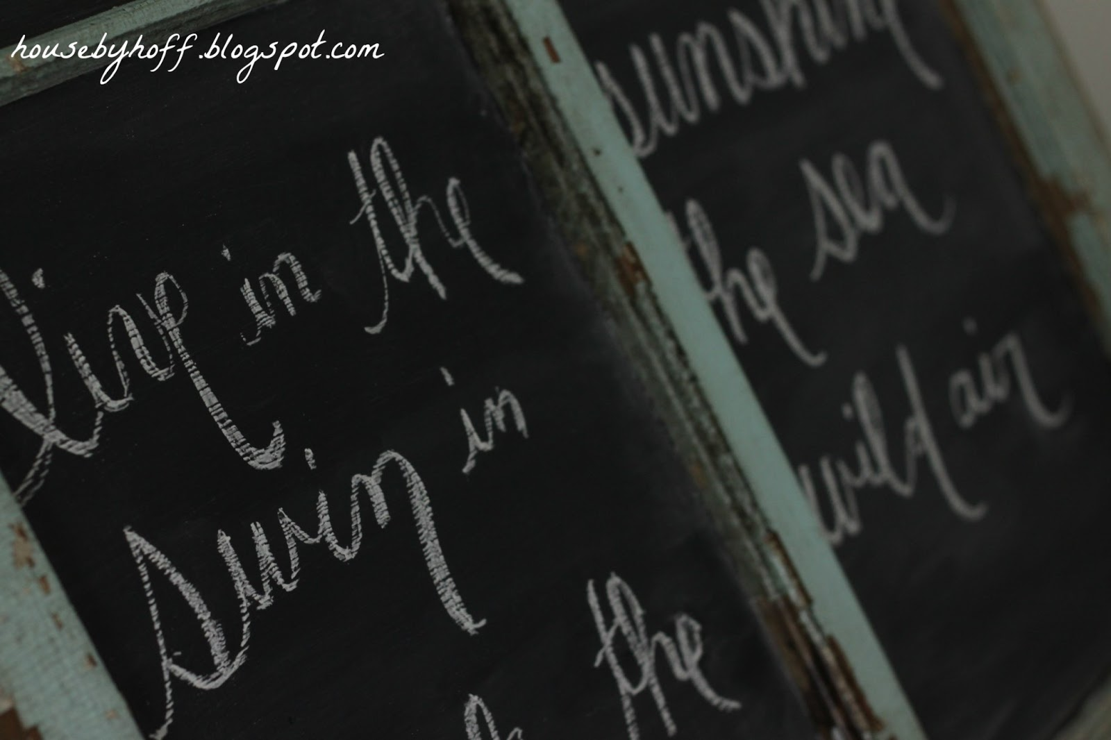 turning your old window into a chalkboard house by hoff. Black Bedroom Furniture Sets. Home Design Ideas