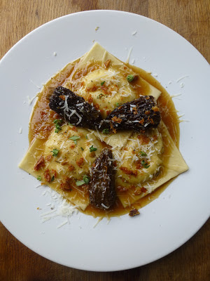 ... mozzarella ravioli with stuffed morels, crispy skin and pecorino