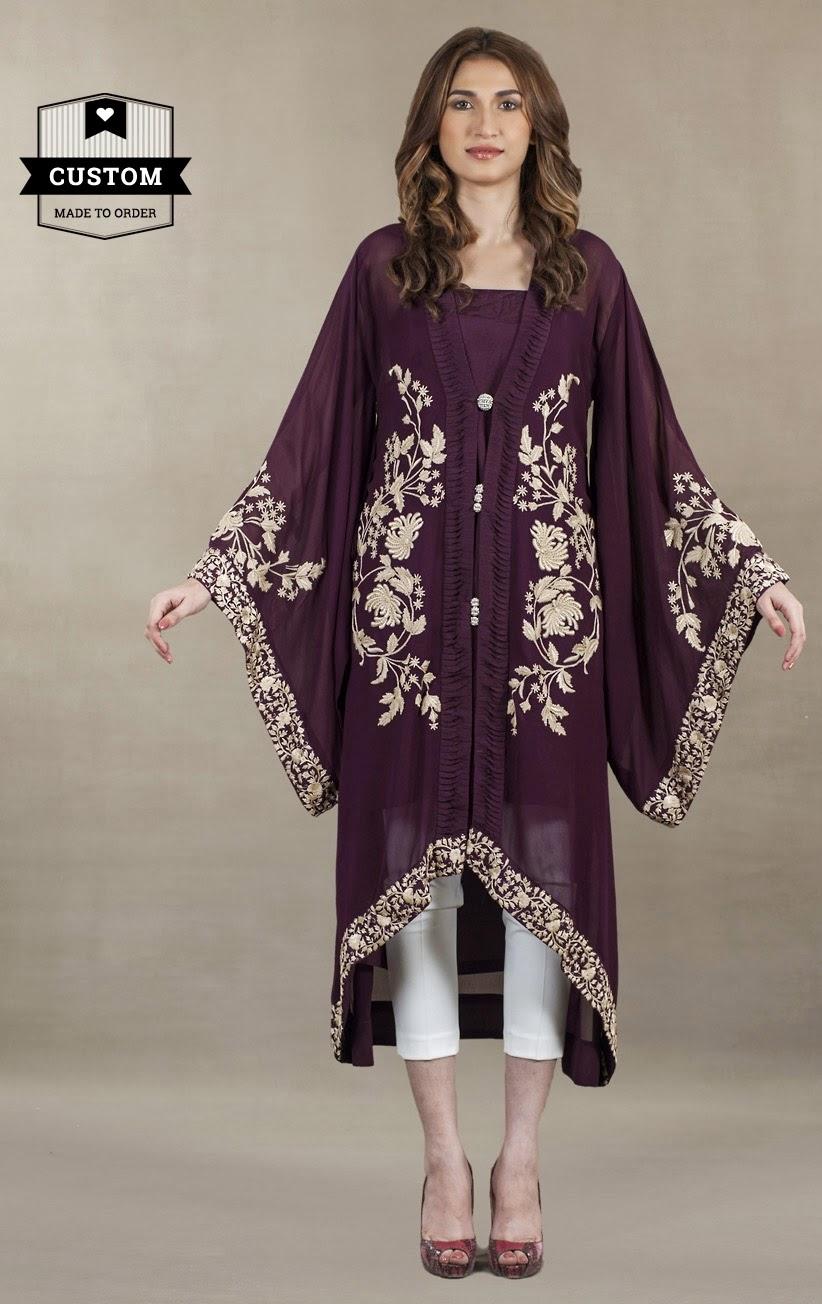 Afh Ayesha Farook Hashwani Collection 2017 Kaftan Poncho On Tail Style Dress