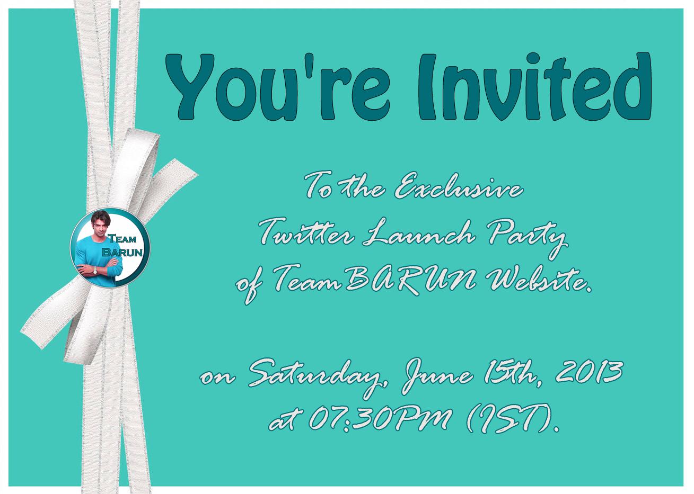 team barun teambarun website launch twitter party invitation