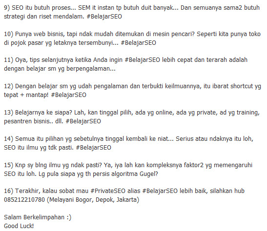 """Screenshot ke-2 Kulia twit tentang """"Tips Belajar SEO untuk Pemula"""" oleh Akang Sunda di @AganSEO Bag 2"""