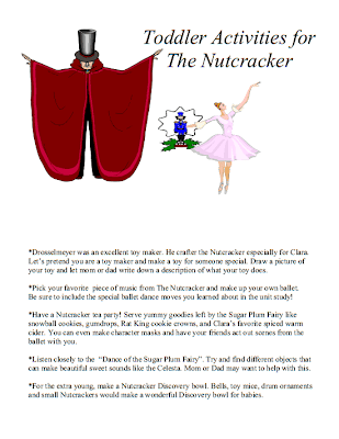 Nutcracker 3 part cards and toddler activities from Laras Place and a Cup of Grace