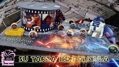 Tarta de fondant e impresión comestible star wars modelados r2d2 galletas Laia's Cupcakes Puerto Sagunto
