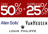 Trendin : Van Heusen, Louis Philippe, Allen Solly at Minimum 40% + Extra 25% OFF