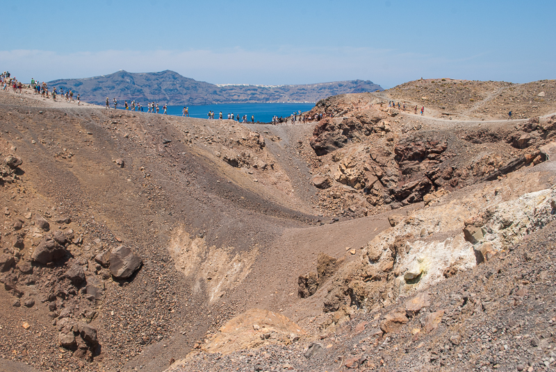 image of people on the volcano island of santorini