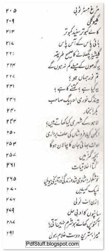 Contents of Urdu book Guzara Nahi Hota