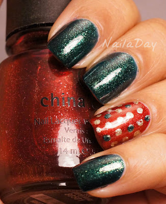 NailaDay: Orly Meet Me Under The Mistletoe with China Glaze Riveter Rouge
