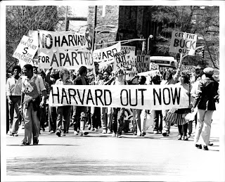 Protest against apartheid South Africa, Harvard 1978