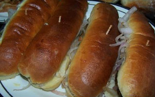 Hot dog garnish with slice fried onion