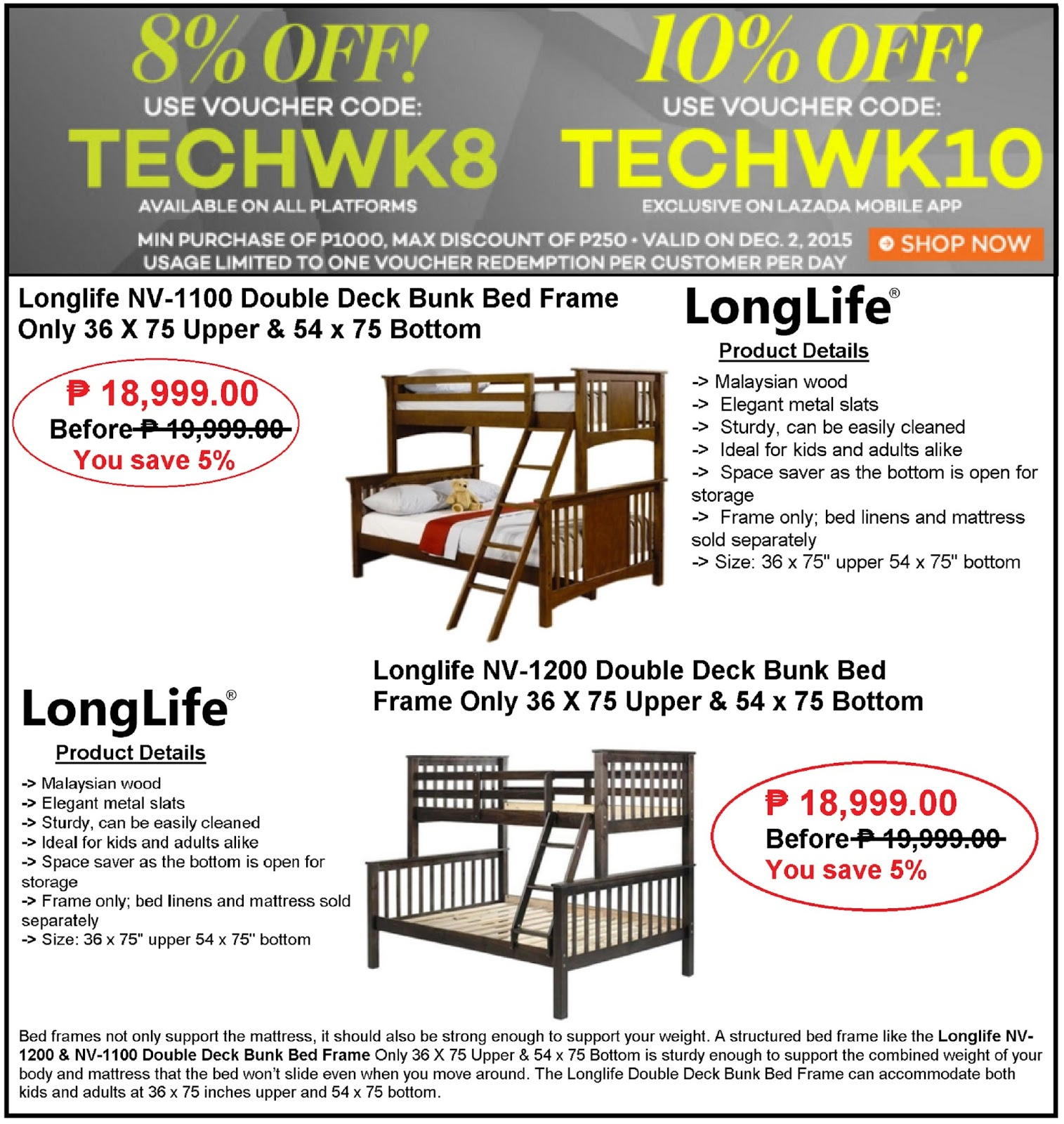 Wooden crib for sale cavite - Save 8 Up To 10 Off Discount On Longlife Double Deck Bunk Bed Frame Sale At Tech Week Promo