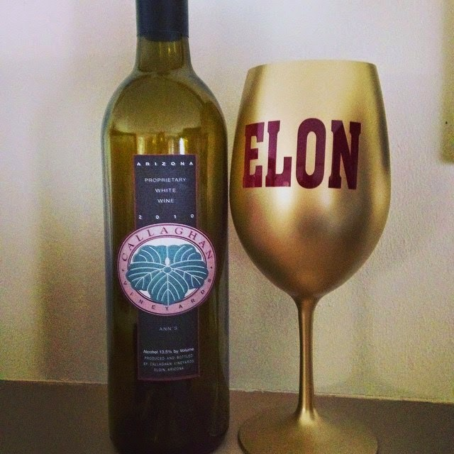Elon University Wine Glass, Callaghan Vineyards Ann's White Blend