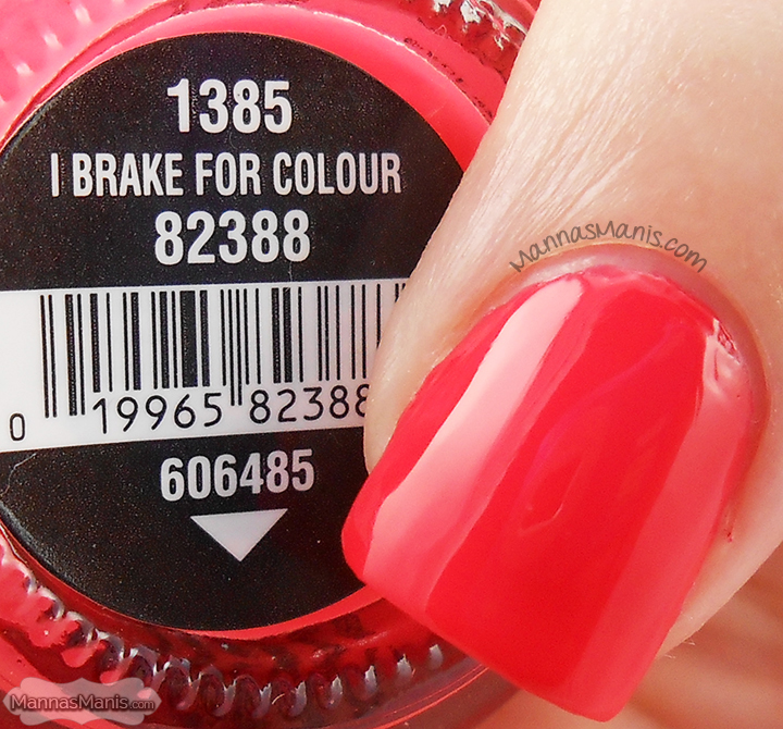 China Glaze Road Trip I Brake for Colour, a reddish pink creme nail polish
