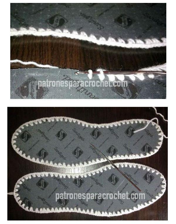 plantillas para usar en pantuflas con borde perforado y tejido a crochet