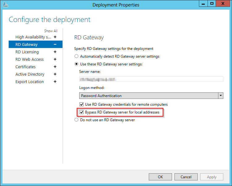 The default option to bypass the RD gateway server.