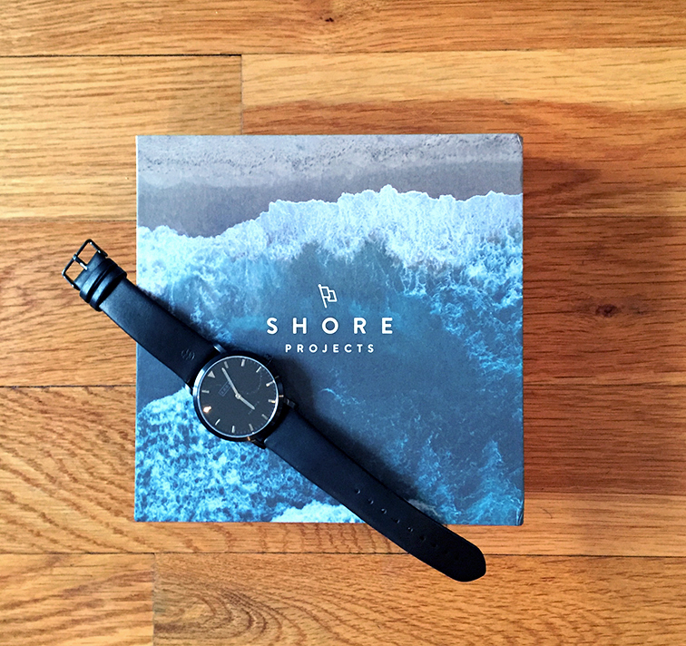 Shore Projects watch, Nordstrom, Bloomingdale's, I'll meet you where the sea meets the sky, gift box set, black watch leather wrist band
