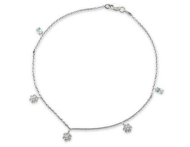 Gold Flower Diamond Anklets