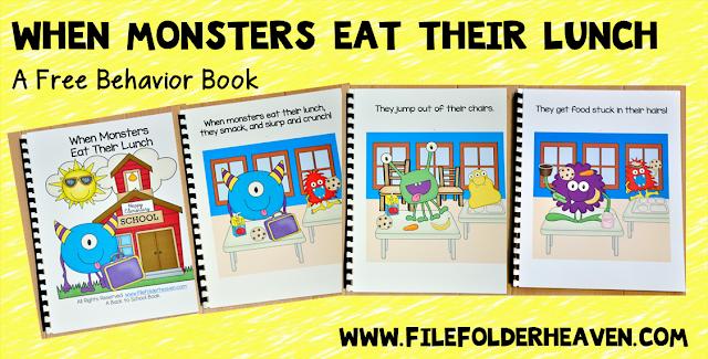 http://www.filefolderheaven.com/autism-tasks/classroom-helpers/when-monsters-eat-their-lunch-book