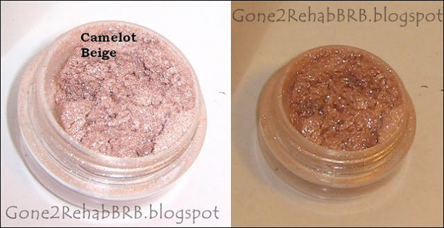 Sweetscents mineral eyeshadow swatches in shade Camelot Beige