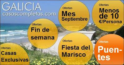 ofertas puente del pilar, casas completas, chalets, villas, bungalows, pisos y apartamentos en Galicia