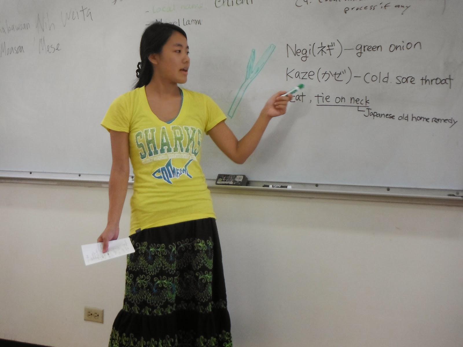Hanae at the board