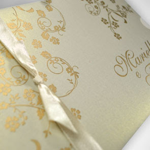 Convites de Casamento Dourados