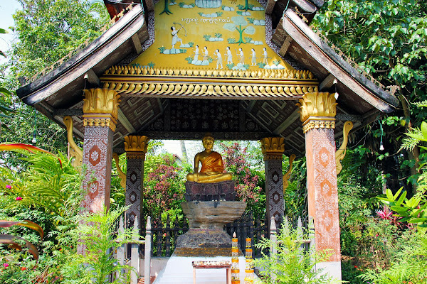 Jardines del templo Wat Xieng Thong