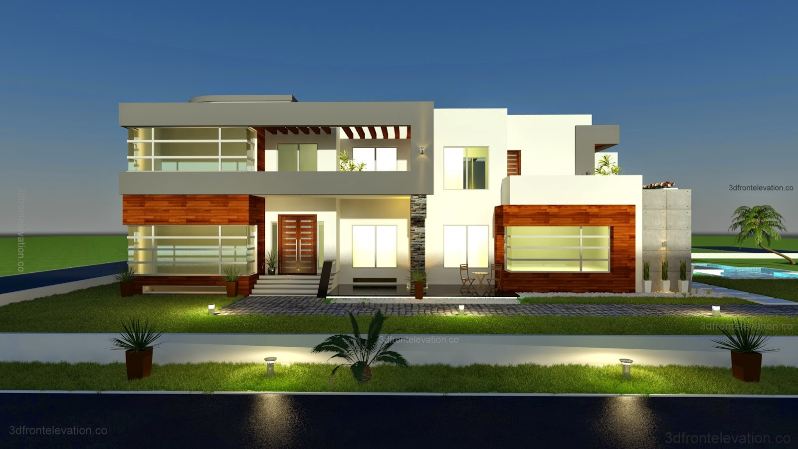 3d front 500 square meter modern For500 Square Meters House Design