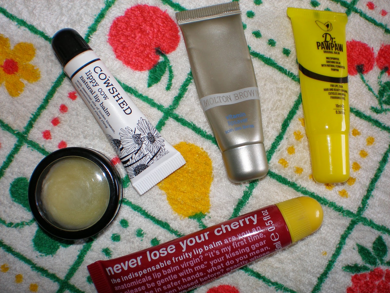Cowshed lippy cow, Dr. Pawpaw multipurpose soothing balm, Anatomicals Never Lose your cherry, PotionWitch Apothecary Honey Bee Lip Balm, Molton Brown vitamin lipsaver