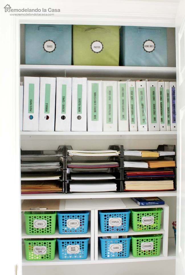 Office closet organized with Dollar General storage solutions