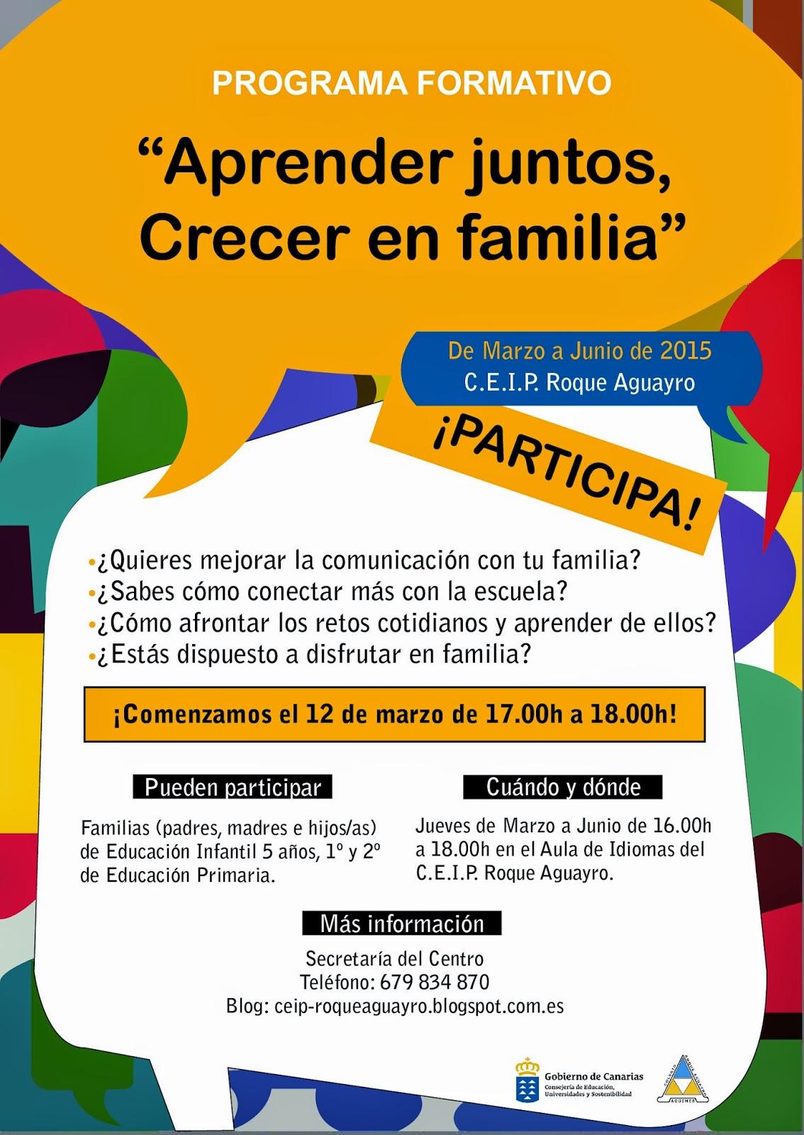 C E I P Roque Aguayro Programa Formativo De Las Familias