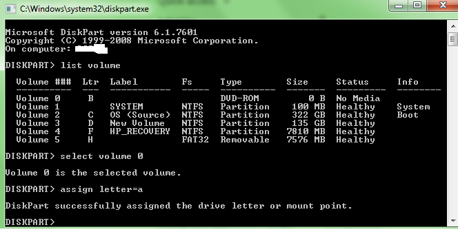 Change Drive Letter Using Command Line