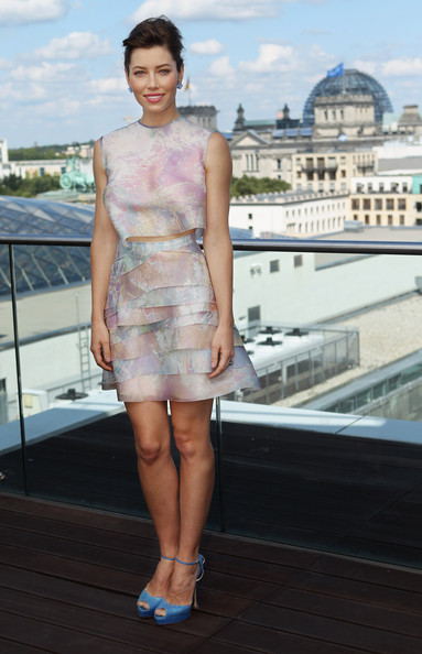 """Jessica Beil at the photocall for """"Total Recall"""" on the terrace of the China Club on August 13, 2012 in Berlin, Germany."""