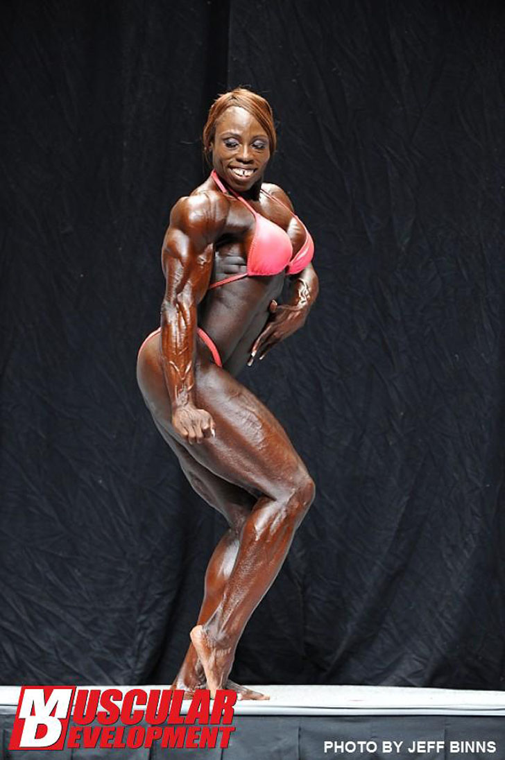 Victoria Dominguez Flexing Her Shredded Physique At The 2012 NPC USA