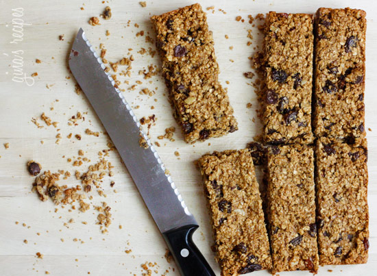 Low Fat Chewy Granola Bars with Pecans, Raisins and Chocolate Chips