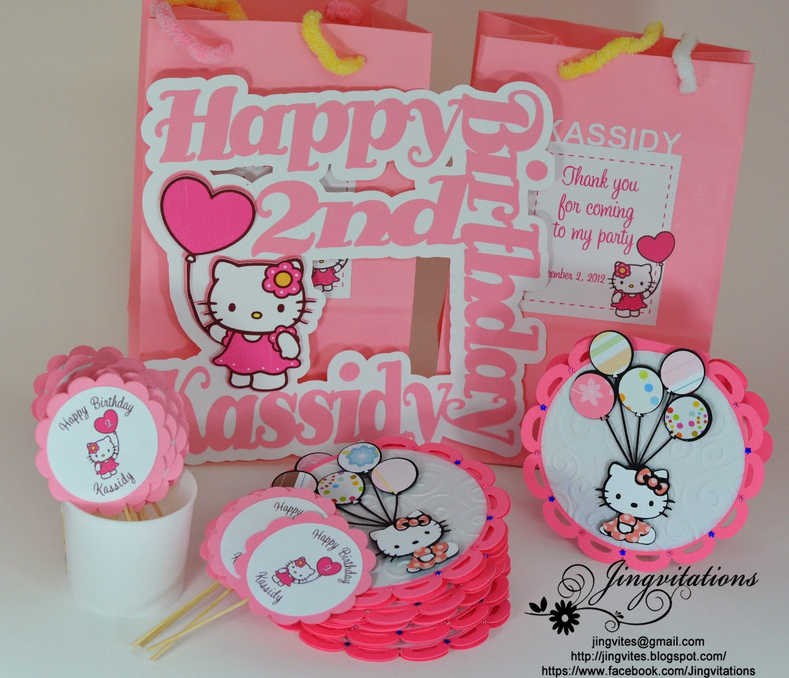 Jingvitations hello kitty birthday party invitations banner hello kitty banner goody bags party favors door sign cupcake topper filmwisefo