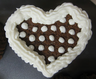 Valentine's Day Heart Shaped Mini Cookie Cakes - Close-Up View of Dots Pattern Cake