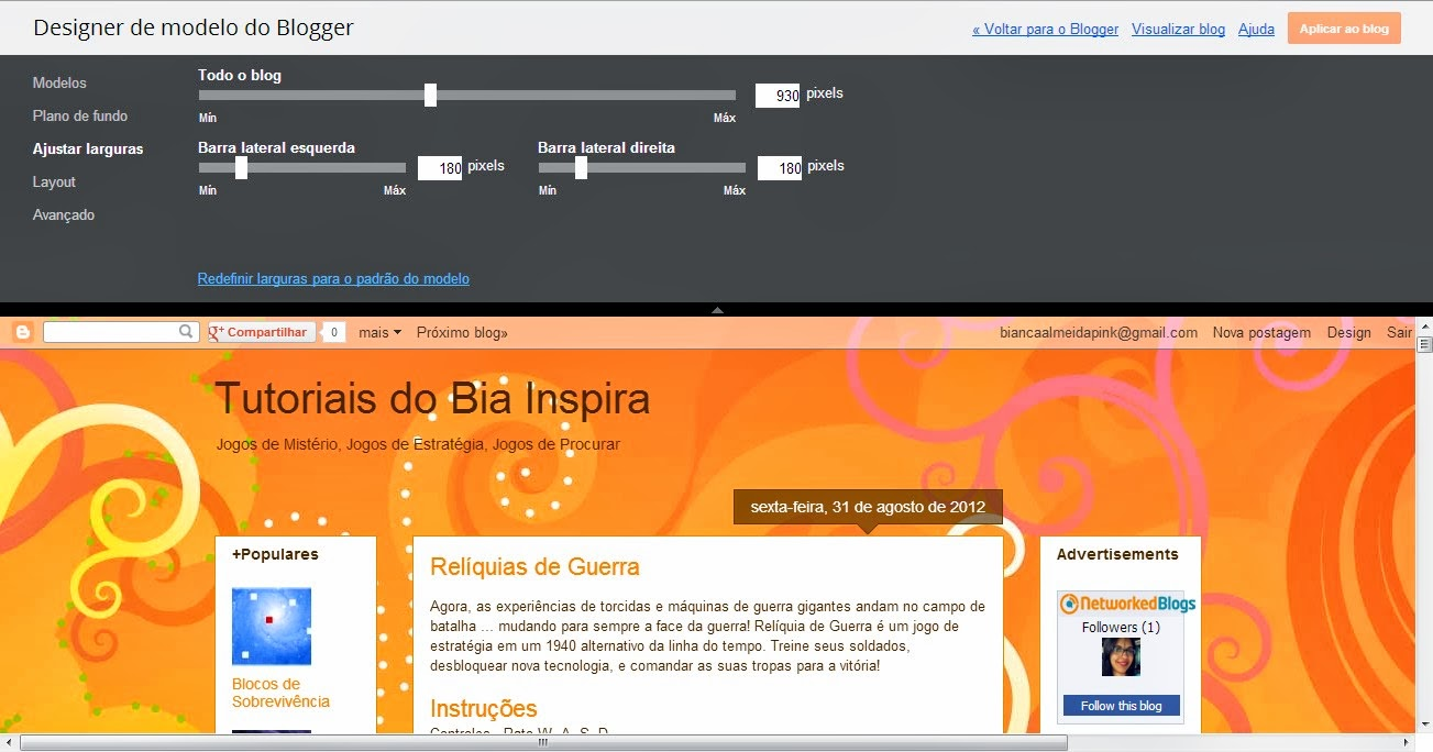 ajustando larguras no blogger