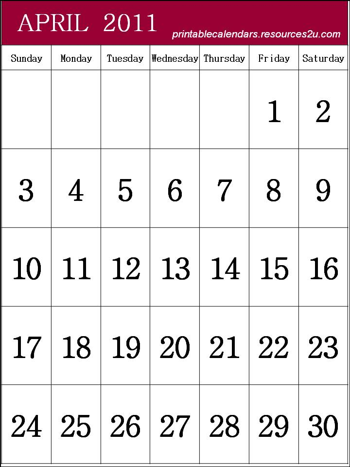 free calendar 2011 template. Free Calendar 2011 April to