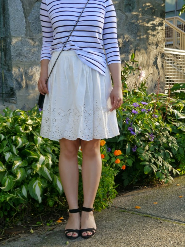 Black and white Breton striped top and white eyelet skirt for summer