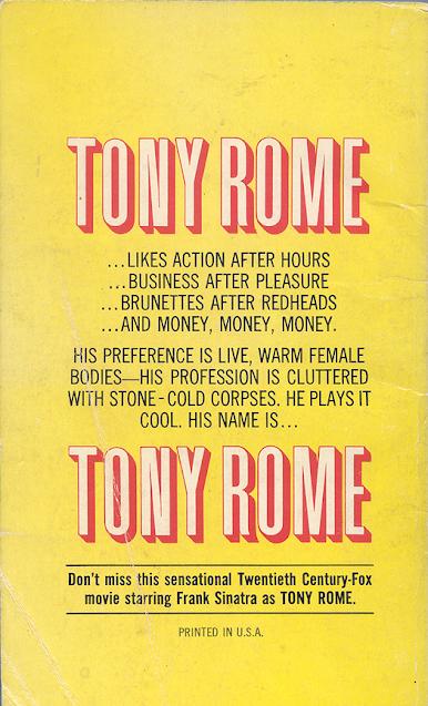 Tony Rome Movie Tie In Back Cover - Miami Mayhem
