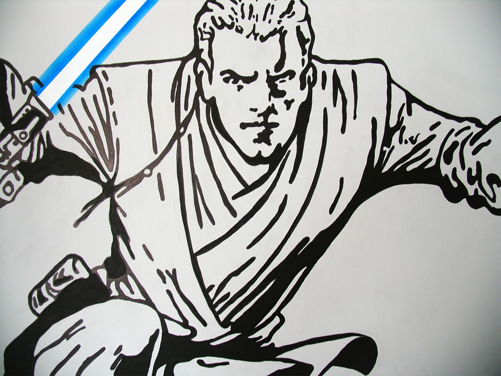 A close up of a wall painting of Anakin Skywalker