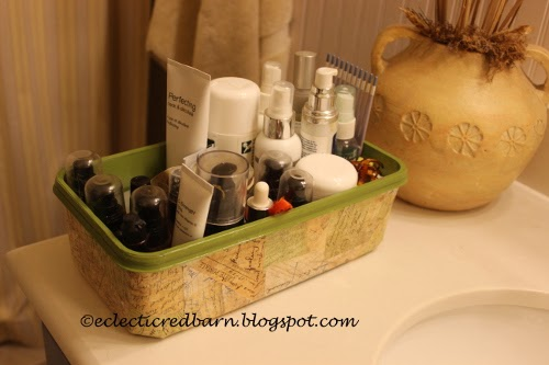 Eclectic Red Barn: Decorated Swiffer container with skin products