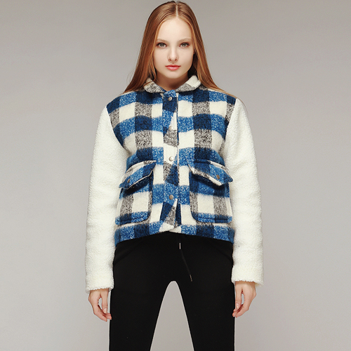 Plaid Loop Fluffy Baseball Jacket
