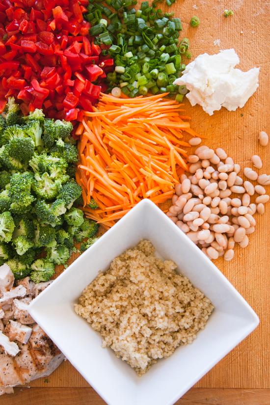 quinoa, grilled chicken, white beans, chopped veggies, pumpkin seeds ...
