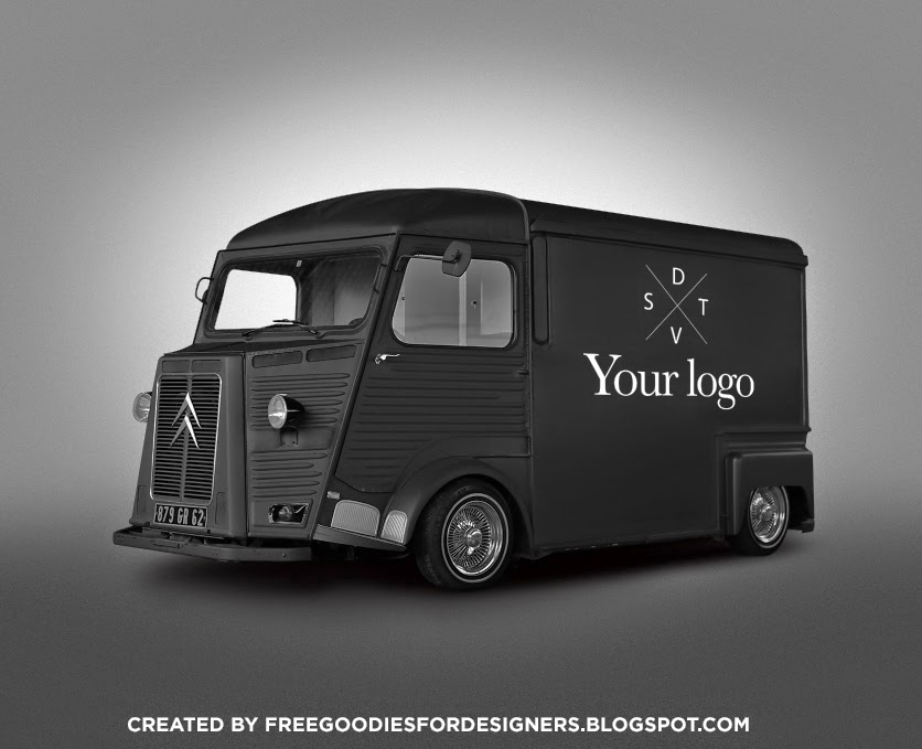 Free psd goodies and mockups for designers free black hipster van ii just made a new editable mockup of a nice old style retro food truck van the original one is really nice but a made some little changes on the car pronofoot35fo Images