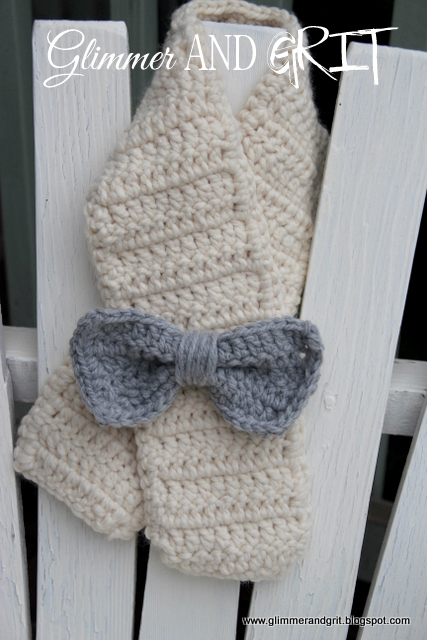 Glimmer And Grit Easy Beginner Chunky Crochet Bow Toddler Scarf