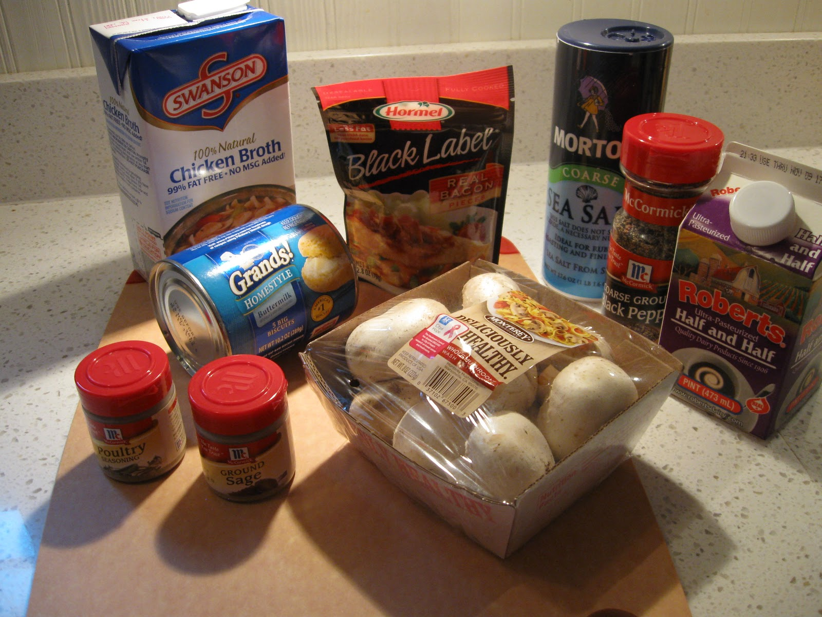 Just Cooking!: Roast Chicken with Smoky Bacon Biscuit Dressing
